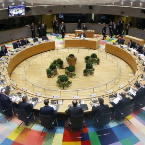 European Union leaders attend a summit in Brussels, Belgium, on March 10.