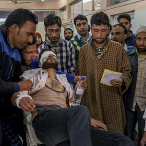 A student was wounded by pellets fired by Indian forces  in Srinagar on April 15.