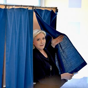 Marine Le Pen casting her vote, April 24