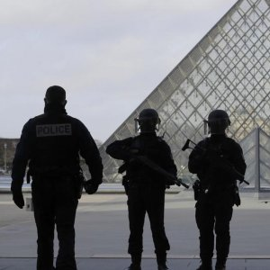 French police at Louvre