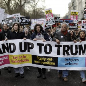The anti-US protest march was held in London on Feb. 4.