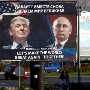 A billboard shows Donald Trump (L) and Vladimir Putin in Danilovgrad, Montenegro, on Nov. 16. (File Photo)