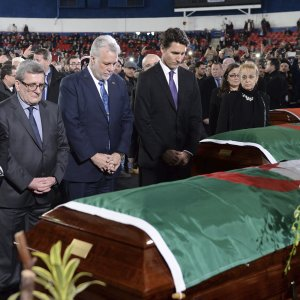 Canadian political figures participate in the public funeral service in Quebec, Canada, on Feb. 2.