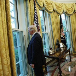 Donald Trump attends the Oval Office in the White House, Washington, on April 27.