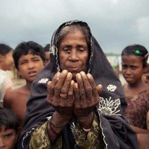 A Rohingya woman praying