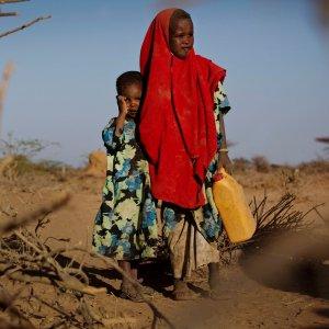 Six-year-old Tirig with her sister Saua in Burao, Somalia (File Photo)