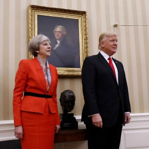 US President Donald Trump (R) and British Prime Minister Theresa May meet at the White House, Washington, on Jan. 27.