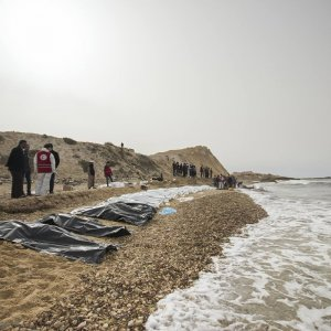 The dead bodies of refugees were lined up along the shore in Zawiya, Libya, on Feb. 21.