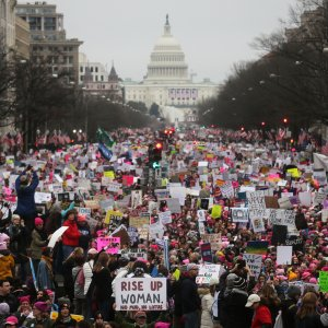 Hundreds of thousands of people gathered for the Women's March in Washington, D.C. on Jan. 21.