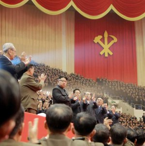 Kim Jong Un (4th L) attends a performance held for participants of the ruling party. The undated picture was provided by KCNA in Pyongyang on Dec. 29, 2016.