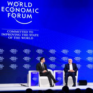 Foreign Minister Mohammad Javad Zarif speaks during a meeting on the second day of the World Economic Forum, on January 18 in Davos.