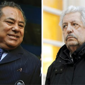 Rafael Esquivel, former president of the Venezuelan soccer federation, (R)  and Julio Rocha, former president of Nicaragua football association