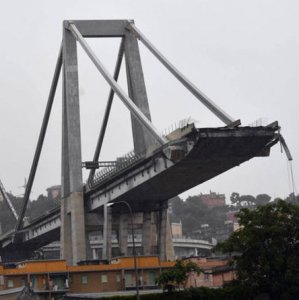 The collapsed Morandi Bridge is seen in the Italian port city of Genoa, Italy, on August 15.