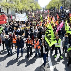 Public railways SNCF workers demonstrate against planned reforms of the French government on April 13 in Paris.