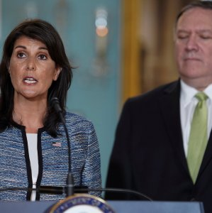 US Ambassador to the United Nations Nikki Haley delivers remarks to the press together with US Secretary of State Mike Pompeo, announcing the withdrawal in Washington on June 19.