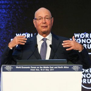 WEF head, Klaus Schwab, speaks during the opening session of the World Economic Forum in Amman, on May 20.