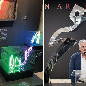 Sara Razmi's neon light creation of 'Gol o Morgh' (L), Parviz Tanavoli and one of his Heech sculptures