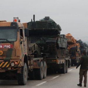 A Turkish military convoy arrives at an army base in the border town of Reyhanli near the Turkish-Syrian border in Hatay Province, Turkey.