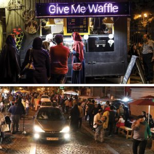 Repurposed vans and motorhomes have popped up on the fringes of the cobblestoned street, serving passersby drinks and food.