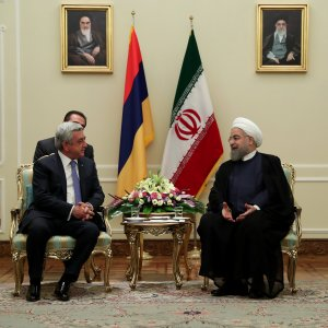 President Hassan Rouhani (R) meets his Armenian counterpart, Serzh Sargsyan, in Tehran on August 6.