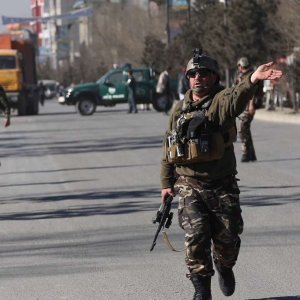 Afghan forces secure the region around the Intercontinental Hotel in Kabul, Afghanistan, January 21.