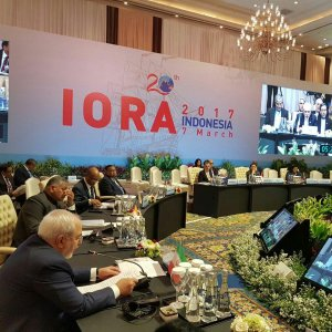 Foreign Minister Mohammad Javad Zarif speaks at the IORA summit in Jakarta on March 7.