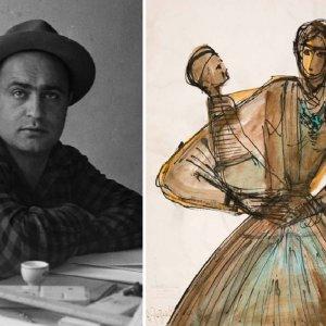 Houshang Pezeshknia and one of his artwork