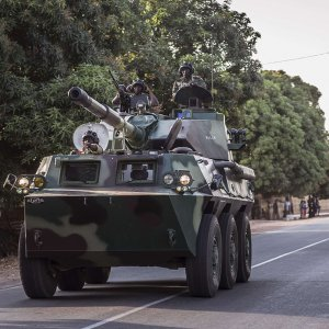 A convoy of Senegal soldiers en route towards the Gambia boarder with Senegal near Karang, Senegal, on Jan. 19.