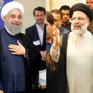 Hassan Rouhani (L) and Ibrahim Raeisi officially registered on Friday for the May 19 presidential election.