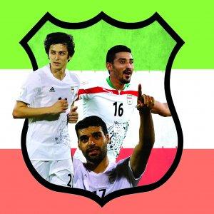 Sardar Azmoun, Reza Ghoochannejhad, Mehdi Taremi (Design: Vahid Sabet)
