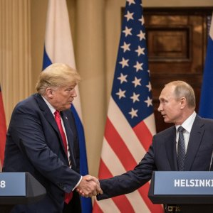 US President Donald Trump (L) and Russian President Vladimir Putin at the Presidential Palace in Helsinki, Finland, on July 16.