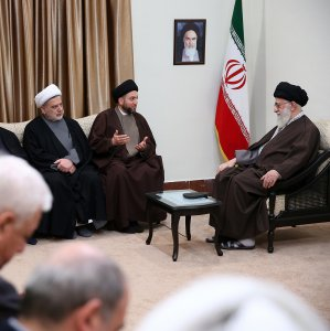 Ayatollah Seyyed Ali Khamenei receives Ammar Hakim, the leader of the National Iraqi Alliance (3rd L), and his accompanying delegation in Tehran on Dec. 11.