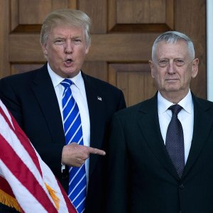 US president-elect Donald Trump (L) stands with retired Marine Gen. James Mattis following their meeting in Bedminster, New Jersey, USA, on Nov. 19.