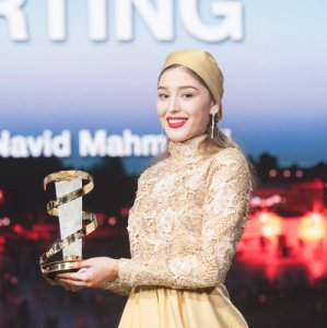 Fereshteh Hosseini with her Best Actress Award at the closing ceremony of the 16th Marrakech International  Film Festival, December 10.