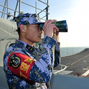A naval soldier of the Chinese People's Liberation Army onboard China's first aircraft carrier Liaoning,  South China Sea (File Photo)