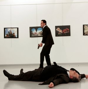 Scene of the assassination of Russia's ambassador to Turkey