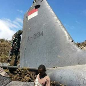 The tail belongs to the Air Force Hercules C-130 HS, which crashed in Wamena, Papua, on Dec. 18.