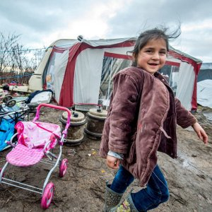 A child refugee in the now-demolished Calais jungle camp