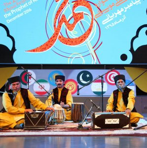 Foreign music groups performing at the closing ceremony of the festival at Bahman Cultural Center in Tehran.
