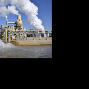 Geothermal power plants use steam produced from reservoirs of hot water found hundreds of meters below the Earth's surface.
