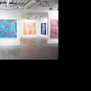 The exhibition of Reza Derakshani's paintings which opened the gallery in March
