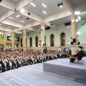 Leader of Islamic Revolution Ayatollah Seyyed Ali Khamenei speaks during a meeting with members of the Basij volunteer forces in Tehran on Nov. 23.