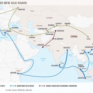 """""""Silk Road Economic Belt and the 21st Maritime Silk Road"""" aims to connect Asia, Africa and Europe through more efficient logistics networks by building more roads, railroads and airports."""
