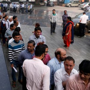 Similar queues have formed at banks across India.