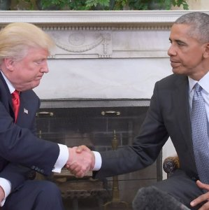 President Barack Obama (R) receives President-elect Donald Trump at the White House in Washington on November 10.