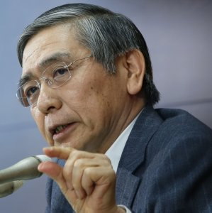"""The Bank of Japan governor says the bank was watching yen moves carefully as they have a """"big impact"""" on the economy and prices."""