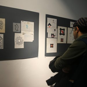 A view of the exhibition of logos designed by Morteza Momayez at Iranian Artists Forum