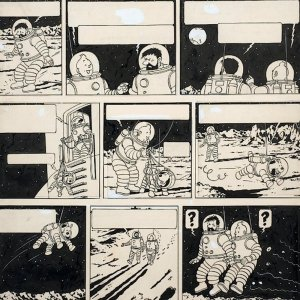 The original drawing from 'Explorers on the Moon' of the Adventures of Tintin broke the record for a single cartoon drawing, selling for $1.65 million.