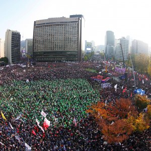 Demonstrators attend a protest against South Korean President Park Geun-Hye in Seoul on November 12.