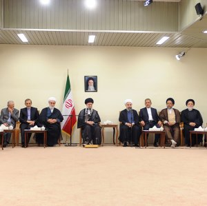 Leader of Islamic Revolution Ayatollah Seyyed Ali Khamenei receives President Hassan Rouhani and his Cabinet in Tehran on Aug. 24.